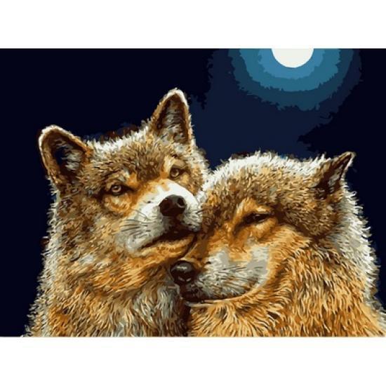 Картина по номерам Волчья нежность, 30x40 см., Babylon