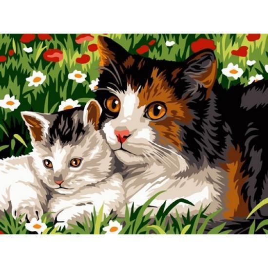 Картина по номерам VK209 Кошачья семья, 30x40 см., Babylon