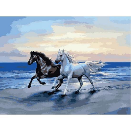 Картина по номерам Пара лошадей, 30x40 см., Babylon