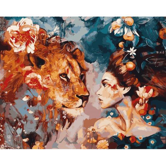 Картина по номерам Преданный лев, 50x65 см., Babylon