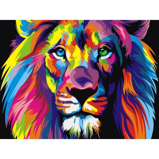 Картина по номерам Радужный лев, 50x65 см., Babylon