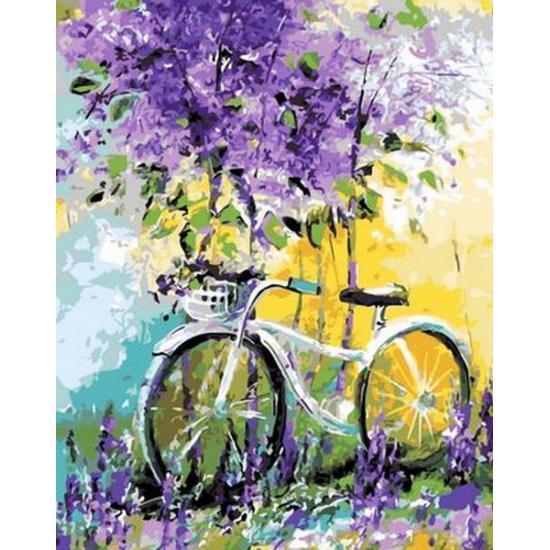 Картина по номерам Велосипед в цвету лаванды, 50x65 см., Babylon