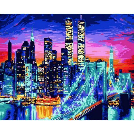 """Картина по номерам """"Ночной Бруклинский мост"""", 50x65 см., Babylon"""