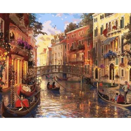 """Картина по номерам """"Прекрасный закат в Венеции"""", 50x65 см., Babylon"""