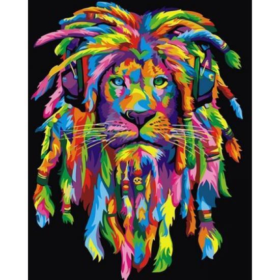 Картина по номерам Радужный лев с дредами вертикальная, 40x50 см., Babylon