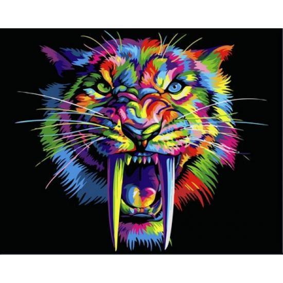 Картина по номерам Радужный саблезубый тигр, 40x50 см., Babylon