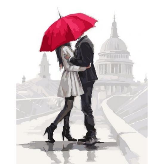 """Картина по номерам """"Нежные чувства под алым зонтом"""", 40x50 см., Babylon"""