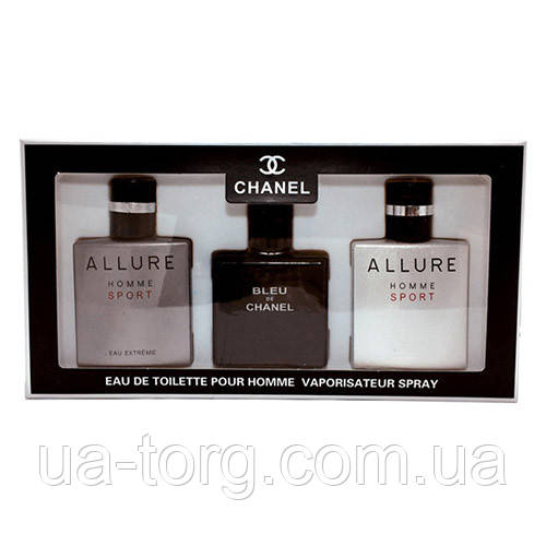 Подарочный набор для мужчин Chanel Eau de Toilette 3х25мл (УЦЕНКА)