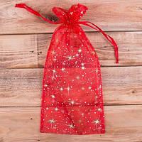 Мешочек из органзы красный  36*15 см Новогодняя упаковка