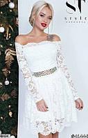 Вечернее платье мини юбка солнце клеш под пояс со стразами с длинным рукавом белое