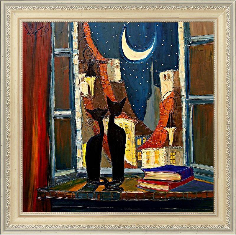 Репродукция  современной картины «В ночь» 30 х 30 см