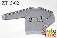 Реглан для девочки теплый р.110,116,122,140 SmileTime Oops!, светло-серый