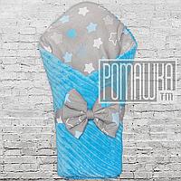 Зимовий товстий махровий теплий конверт плед ковдру 100х80 для виписки зима зимою Минки 4543 Блакитний, фото 1