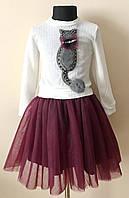 Детское платье комплект кофта с юбкой на девочку 4-7 лет, фото 1