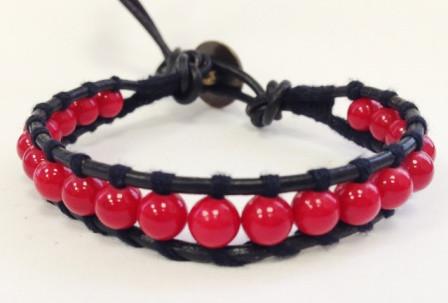 Женский кожаный браслет чан лу из коралла