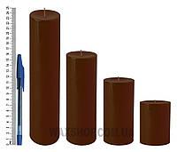 Свеча цилиндрическая, диаметр 6см, Ккоричневый