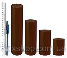 Свеча цилиндрическая, диаметр 6см, Коричневый
