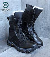Ботинки женские зимние кожаные черные ARS-3 утеплённые мехом