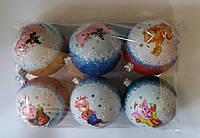 """Елочная игрушка """"Шар цветной Мячик Хрюшка"""" (диаметр 8 см, упаковка 6 шт), фото 1"""