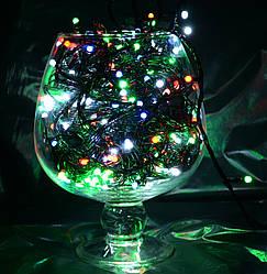 Гирлянды новогодние на 200 Led матовые мульти (черный провод)