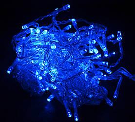 Гирлянда светодиодная на 100 Led синяя (прозрачный провод)