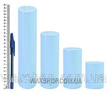 Свеча цилиндрическая, диаметр 6см, Голубой