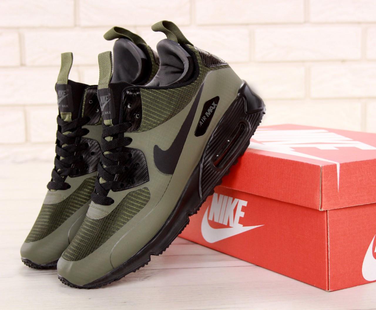 Мужские зимние кроссовки Nike Air Max 90 Mid Winter Green на термо подкладке