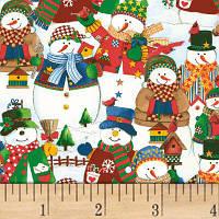 """Ткань для пэчворка и рукоделия американский хлопок """"Снеговики"""" - 24*55 см"""