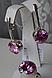 Серебряные серьги - подвески с розовым цирконием , фото 3