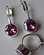 Серебряные серьги - подвески с розовым цирконием , фото 4