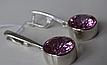 Серебряные серьги - подвески с розовым цирконием , фото 2