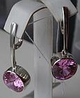 Серебряные серьги - подвески с розовым цирконием