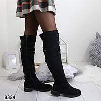 Зимние женские ботфорты черные 8324