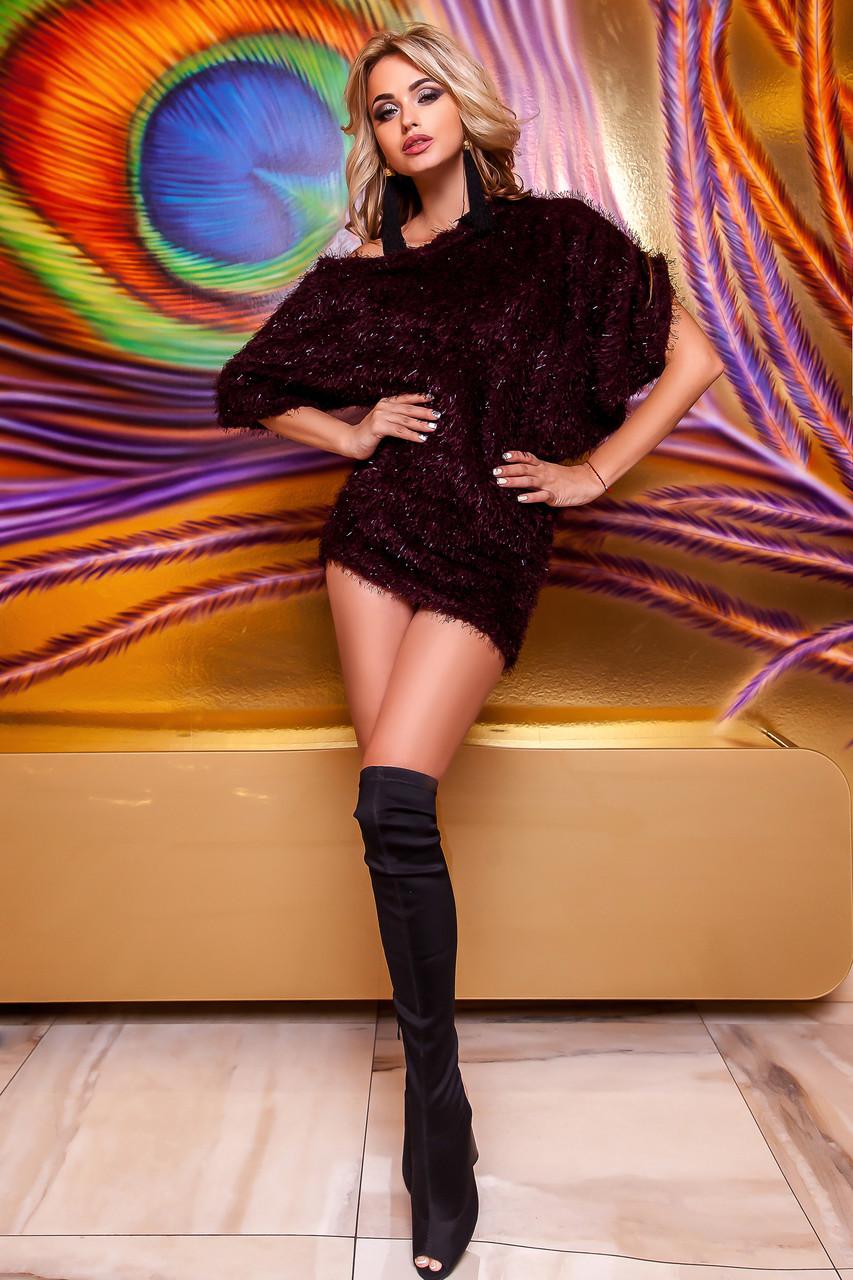 Стильное платье-туника бордо