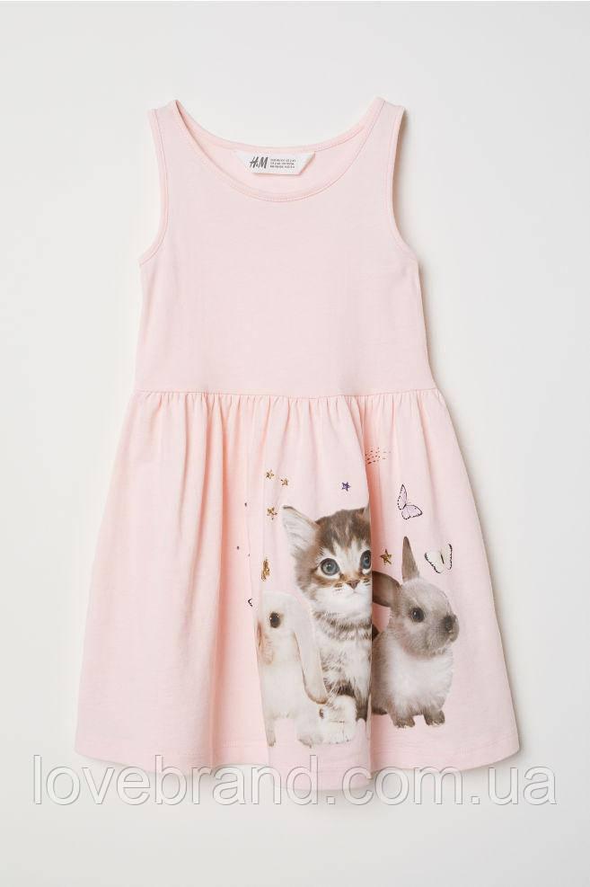 "Летний сарафан для девочки H&M ""Котёнок"" розовый 4-6 л./110-116 см"