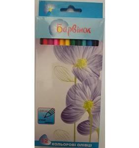"""Карандаши цветные 12 цв. """"Барвинок"""" Цветы шк.4820071014708"""