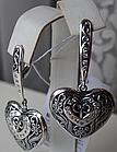 Серебряные серьги - подвески Сердца