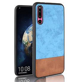 Чехол накладка для Huawei Honor Magic 2 с кожаной поверхностью, Double color, голубой