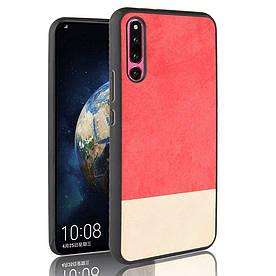 Чехол накладка для Huawei Honor Magic 2 с кожаной поверхностью, Double color, красный