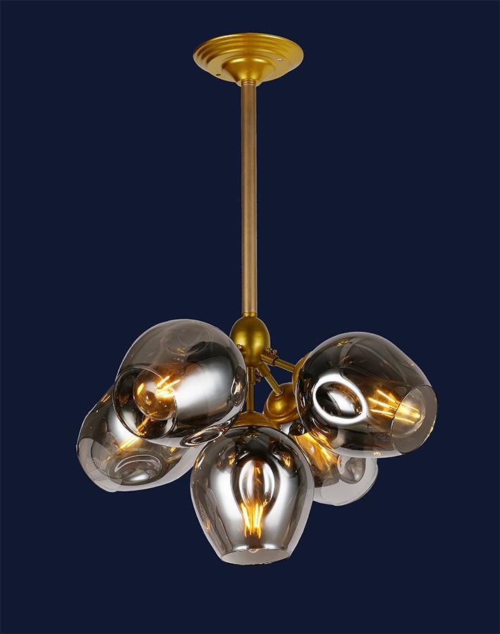 Люстра подвесная Bubble в стиле Loft LV  - золотой корпус+темные плафоны 756LPR66005-5 GD+BK