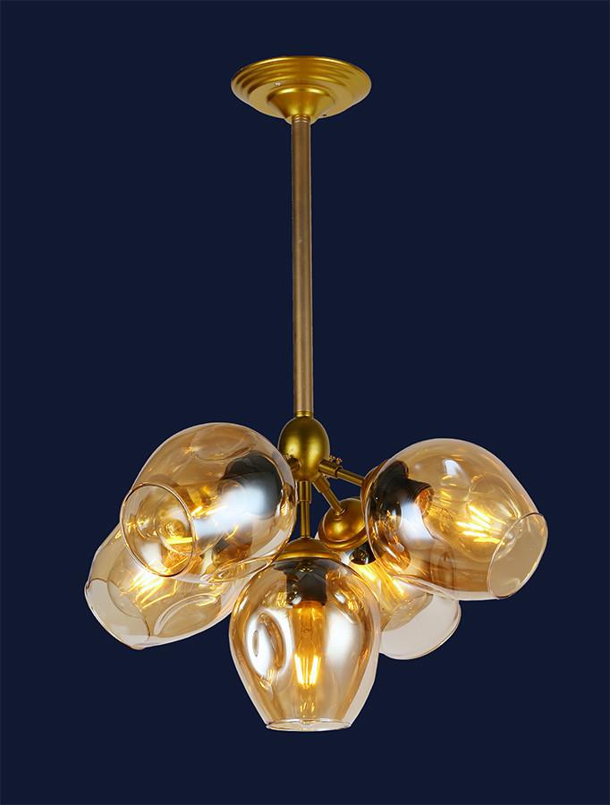 Люстра подвесная Bubble в стиле lolt LV  - очень модная золотой корпус+янтарные плафоны