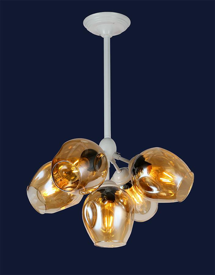 Люстра подвесная Bubble lolt LV  - очень модная белый корпус+янтарные/темные плафоны