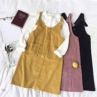 Женское стильный вельветовый сарафан с карманами (3 цвета)