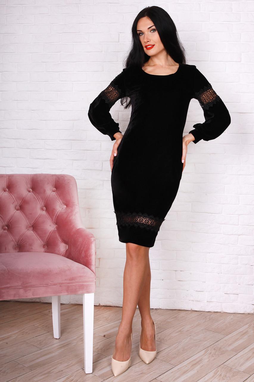 9273331ac3e Черное велюровое платье с кружевом на рукавах - Оптово-розничный магазин  одежды