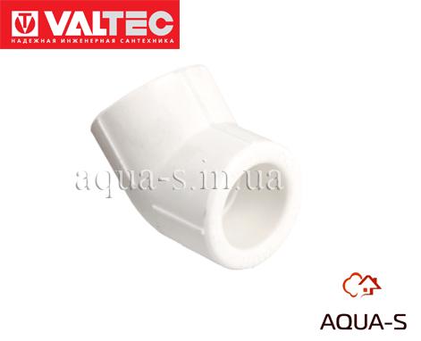 Угольник Valtec PPR DN 63x45° для полипропиленовых труб (VTp.759.0) Белый
