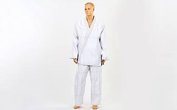 Кимоно для джиу джитсу белое VELO (хлопок, р-р 1-7 (140-200см), плотность 350г на м2, пояс в комплект не входит)