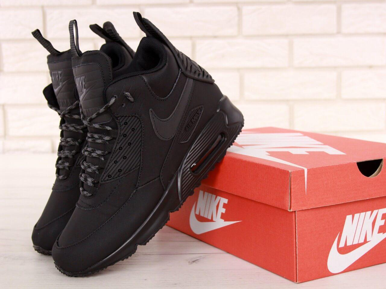 Мужские зимние термо кроссовки Nike Air Max 90 Sneakerboot Winter в черном цвете, фото 1