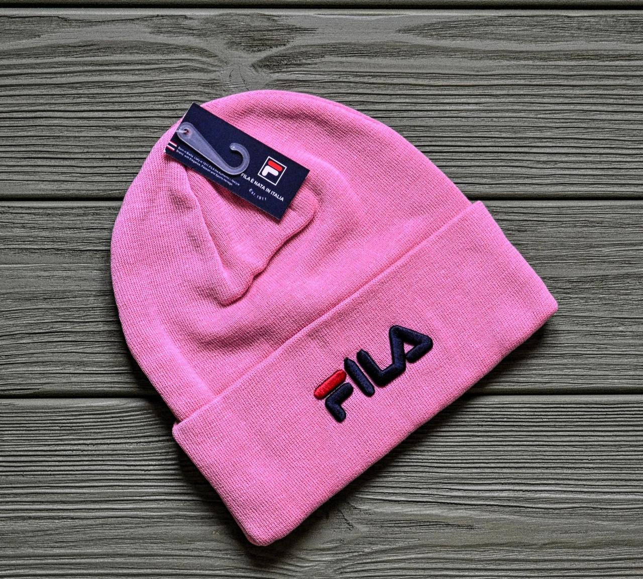 Шапка Розовая Акриловая с Отворотом Брендовая от Fila Фила — в ... eb6c4eb3a9602