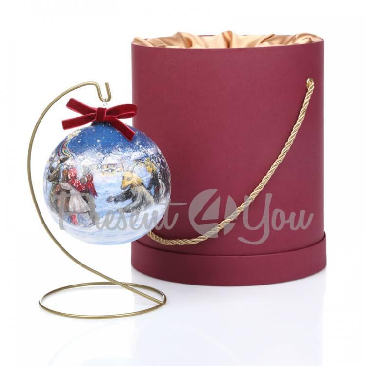 Новогодний шар ручной росписи в подарочной коробке «Вертеп», d-12 см (905-0001)