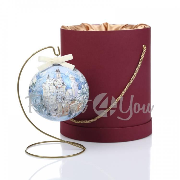 Новогодний шар ручной росписи в подарочной коробке «Замок», d-12 см (905-0010)
